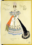 Costume design for Nina in an elaborate ball gown with an orange shawl and black embroidered train. She wears a simple bracelet over one of her elbow-length gloves.