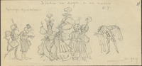 This pencil sketch features several figures in turbans and robes, center, framed by commedia dell'arte characters that include Pantalone (left) and Harlequin (right).