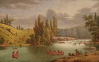 An oil painting of two canoes in the water near a small waterfall. Several other canoes are being portaged up a hill and around the waterfall behind them.