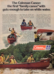 A color Coleman advertisement featuring a family paddling a fiberglass canoe.