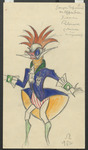 In this costume design for act 2 of Tales of Hoffmann, a male guest appears to be part insect, part bird: while his enormous eyes are solid blue, his red on-end hair fans out like feathers. His blue jacket is a deep yellow underneath, and his green-clad calves trail away into nothingness.