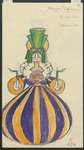 In this costume design for act 2 of Tales of Hoffmann, a female guest wears a purple and orange striped gown, the skirt of which curves out sharply then in again at the base, making her look like a vanka-vstanka (a doll with a rounded base that always returns to its upright position) or an enormous jug. The impression of the latter is strengthened by her vivid green headdress and hair, which together resemble a spout.
