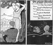 A cartoon caricature comparing nature and cinema. The left panel shows a man and woman under a tree. The right panel shows a man and woman in a movie theater.