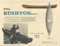 The old-line canoe builder Old Town expanded into the fiberglass market in the 1960s. This advertisement, for its Rushton model, claimed a weight of 18.5 pounds on the 10-foot solo boat. Cost was $195.