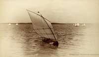 Walter Stewart sails Pearl at the American Canoe Association meeting in 1886. Stewart was an admirer of American-built canoes.