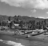 A black-and-white photograph of a beach in Martinique. Several dugout canoes sit on the shore. Palm trees and several structures in the background.