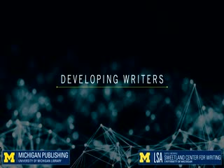 Video interview with Emily Wilson and Justine Post, authors of Developing Writers chapter one, discussing the applications of their chapter for students of writing.