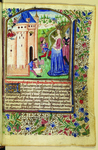 The miniature on folio 1r of the Speculum Dominarum is indebted to the iconographic tradition of The City of Ladies. The miniature depicts a crowned woman in a regal dress embellished with the fleur de lys of France. She supervises men engaged in the labor advocated by its opening scriptural quotation that the wise woman builds her house.