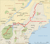 A map depicting the Northern Forest Canoe Trail.