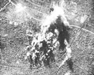 An aerial view of an American bombing raid on Paris.