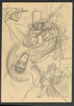 "Rough pencil sketch of Columbine, in a half mask, above, strangling Pierrot, in a skullcap, below. On the drawing appear the words ""venez,"" ""vous,"" and ""êtes,"" three of the words in the phrase ""Venez sans céremonies et telle que vous êtes!"" (Come without ceremony just as you are!), which Pierrot says to Columbine just before she comes to his garret to kill him."