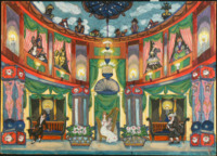 This vivid design features several individually curtained balconies from which figures peer into the room below where Olimpia sits, center, playing a harp. A third level is populated by figures in masks positioned against a ceiling painted like the sky.