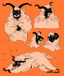 Five different drawings of a sheep-like white animal with horns against an orange background.