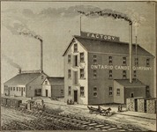 This drawing shows the Ontario Canoe Company factory in Peterborough in the early 1880s.