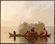 An oil painting of two fur traders and an animal in a canoe.