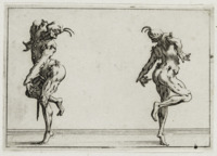 Two identical male figures in distorted poses and half masks dance in the same position from opposite perspectives.