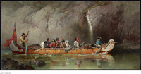An oil painting of a large canoe carrying over a dozen figures passing a waterfall and cliffs.
