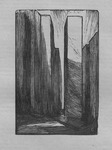 A scenic design rendered as a wood engraving by Edward Gordon Craig.