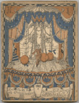 This journal cover, painted in blue, beige, and orange, depicts a lavishly curtained stage on which a commedia dell'arte actor stands with three enormous oranges as three other actors peek out from the wings.