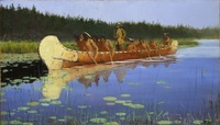 An oil painting of several people paddling a birch-bark canoe through water with trees in the background.
