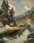 An oil painting of a canoe and going through rapids.