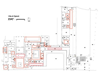 "View PDF (343 KB), titled ""Fig. 20.1. Plan with rooms containing graffiti. Drawing: R. Benefiel."""