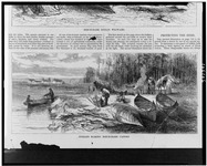 A black and white illustration of five people working on or around various birch-bark canoes on the shore of the lake. In the foreground are three birch-bark canoes, and in the background is the smoke from a fire near a wigwam.