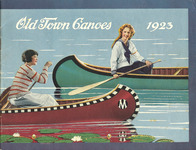 A 1923 Old Town Canoe catalog cover featuring two women paddling solo.