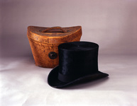 Beaver pelts were used in making felt, which could be turned into a top hat, shown here with its case.