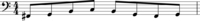 Example 1. One measure of music in bass clef