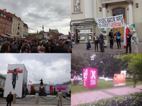 "Figure 8.1. Four photographs from the ""Festival of Freedom"" at the Castle Square in Warsaw, taken on June 4, 2014. They show crowds, placards, and official promotional installations"