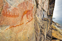 A color photograph of a pictograph on a rock wall.