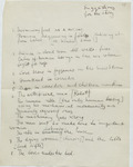 List, handwritten in English, of several of Eisenstein's ideas for scenes in The Glass House that would focus on shifted perspective and juxtaposition.