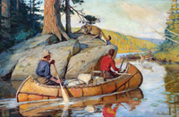 A colorful painting of two men in a birchbark canoe filled with packs and other various equiptment. A mountain lion snarls at the outdoorsman from his perch on a rock outcrop. A buck leaps out of shallow water onto the shore in the distance.