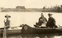 Biologist Aldo Leopold (center) accompanies his son Starker (left) on a canoe trip in the Quetico boundary waters in 1924.