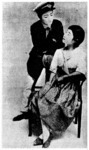 The early Revue with and without whiteface. Right, a scene from Five Daughters (Gonin musume, 1920) with the childlike actors in whiteface. Opposite, in 1930 the application of whiteface was discontinued, and the Revue's cast appeared more adult, as evident in the scene from Rosarita (Rosariita, 1936). From The Takarazuka: Takarazuka kageki 8oshūnen kinen (1994:84) and Hagiwara (1954:13).