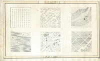 Six equal square panels showing hand-drawn maps; including evenly spaced treetops in a nine-by-nine square; a flat landscape with unevenly distributed trees; a three-dimensional grassy landscape with two steep, unvegetated terraces; a swampy lowland surrounded by grassy hills with a few trees; an irregularly planned town with roads and property lines surrounded by fields and a grassy landscape; and layout of roads and piers of a port town.