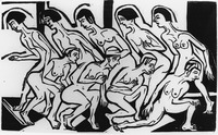 Black-and-white woodcut print inspired by Wigman's group. Two rows of women dance nude, each row facing an opposite direction. The back row has five women with dark hair while the front has four with light hair. Organic lines define each figure outline and general body detail, while the background and floor (which has a chevron pattern) is in stark straight lines.