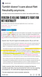 A single user's written post commenting on a media report on Tumblr's net neutrality, with parts embedded in the post and highlighted in yellow.