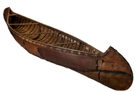 The Ojibwe (also called Chippewa) built different styles of canoes, including this distinctive long-nose model.