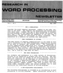 Image of the first issue of the Research in Word Processing Newsletter