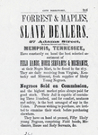Advertisement for Forrest and Maples, slave dealers. W. H. Rainey, Rainey's Memphis City Directory, 1855-56 (Memphis: H. B. Wolfkill, 1855-56).