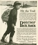 An illustrated advertisement for the Poirier Pack Sack.