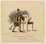 Watercolor of Kapellmeister Johannes Kreisler in a brown dressing gown and red hat, smoking a long pipe, standing before a writing table, on which lies Hoffmann's opera Undine.
