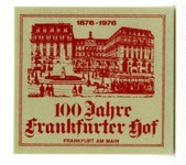 "Hotel stamp with the image of a grand building, the name and address of the hotel, and ""1876-1976."""