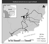 Map 3 is a black and white map of a portion of southeastern Brazil. The map shows the mining sites, pipelines, and railroads that run between the mining areas and the ports.