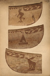 A photograph of three outer hulls of birch-bark canoes, decorated with silhouettes, symbols, animals, and shapes.