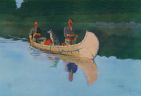 An idyllic painting of two men and a dog in a birch bark canoe on the glassy surface of a lake. The lake reflects the image of the men in the canoe, and their paddles send ripples across the surface.