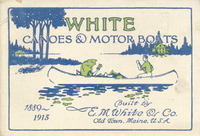 E. M. White Company catalog cover from 1915 showing a courting canoe.