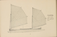 "A black and white illustration of two sails mounted inside a canoe from page 44 of the Rushton's Rowboats & Canoes Catalogue. The text beside the illustration reads ""Vesper. Sail Plan. Bailey improved sails, double halliards."""